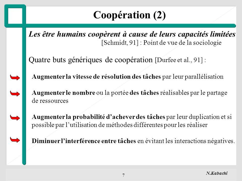Coopération (2) Les être humains coopèrent à cause de leurs capacités limitées. [Schmidt, 91] : Point de vue de la sociologie.